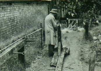 Alfred Henry Buckingham at work on the Rope-Walk c 1950.